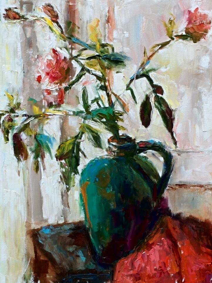 """Green Vase"" original fine art by pepa sand"