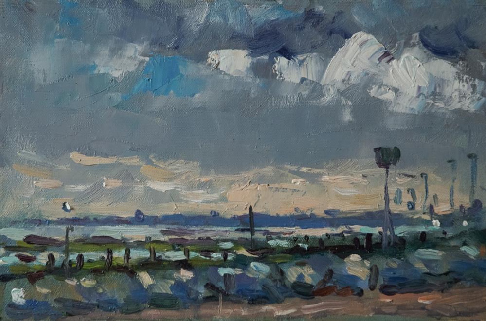 """""""Evening at Littlehampton Beach"""" original fine art by Andre Pallat"""