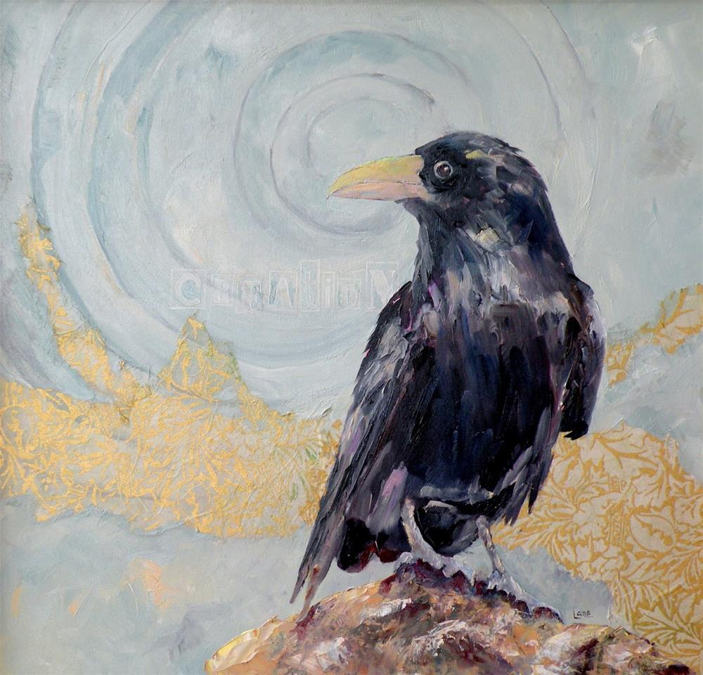 """CREATION - A RAVEN ORIGINAL MIXED MEDIA PAINTING OF A RAVEN © SAUNDRA LANE GALLOWAY"" original fine art by Saundra Lane Galloway"