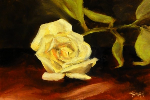 """Single Yellow Rose"" original fine art by Dalan Wells"