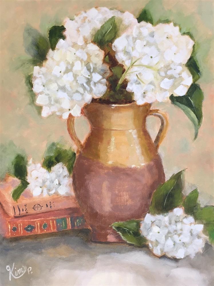 """Hydrangeas in Tuscan Urn"" original fine art by Kim Peterson"