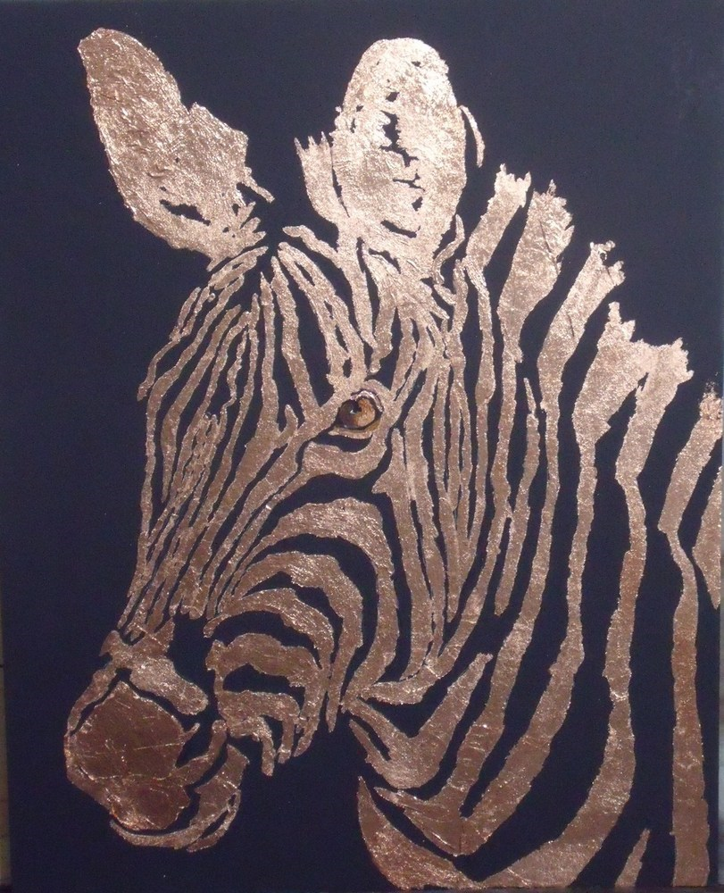 """Golden Zebra"" original fine art by Nelvia McGrath"