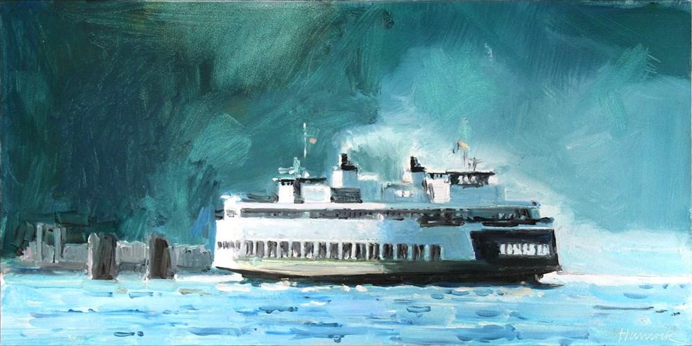 """Sun and Smoke Ferry Vashon"" original fine art by Gretchen Hancock"