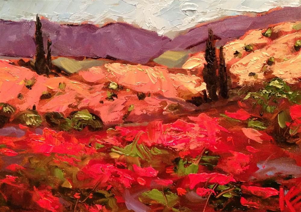 """Palette Knife Poppies in Tuscany"" original fine art by Krista Eaton"