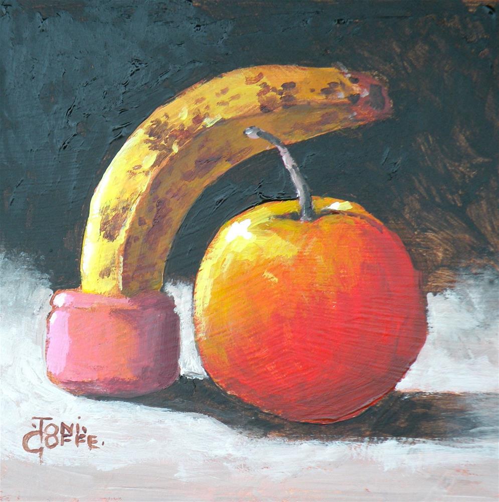 """Banana Umbrella"" original fine art by Toni Goffe"