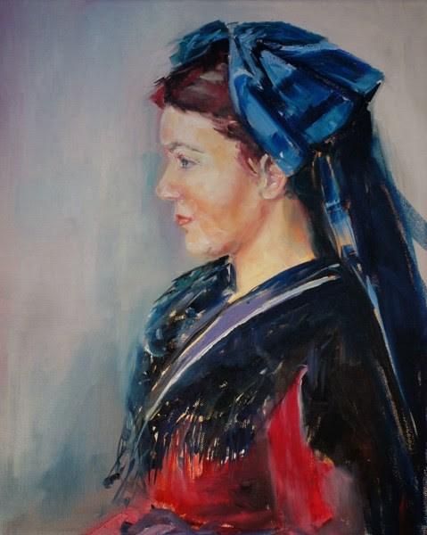 """Alsacienne au noeud bleu"" original fine art by Evelyne Heimburger Evhe"