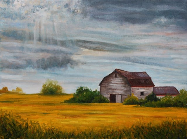 """""""Old barn in the countryside"""" original fine art by Hilary J. England"""