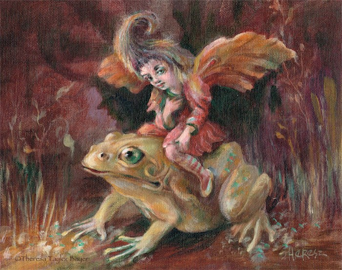 """Fairy on a Frog"" original fine art by Theresa Taylor Bayer"