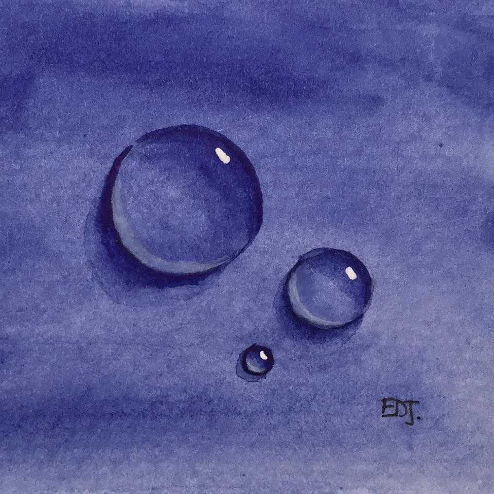 """Blue Drops No. 1"" original fine art by Elizabeth Dawn Johnston"