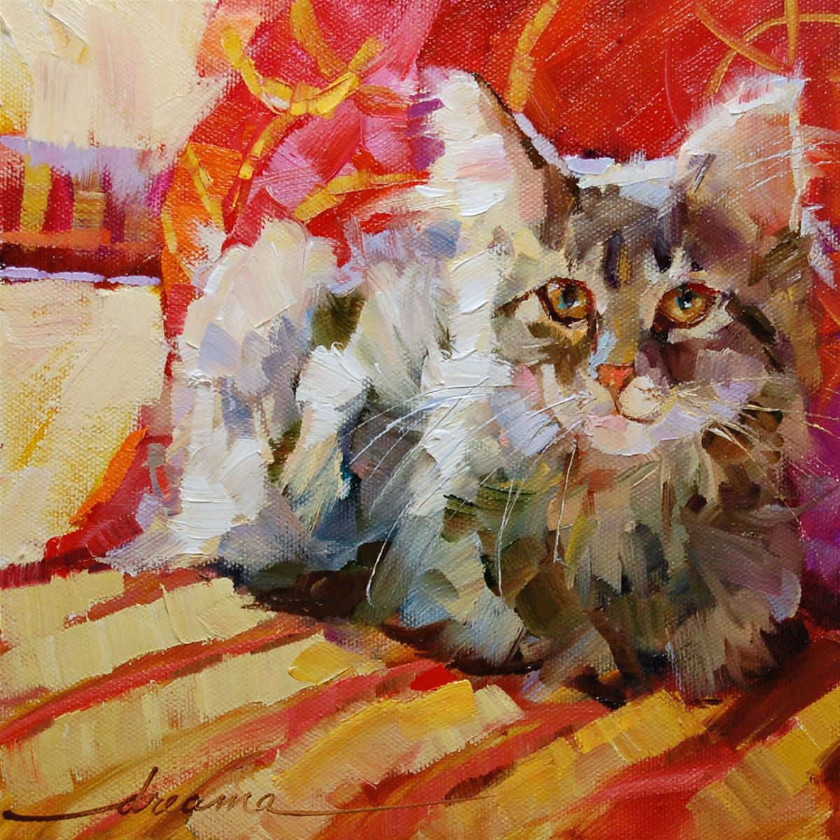 """Catalicious Kit Kat"" original fine art by Dreama Tolle Perry"