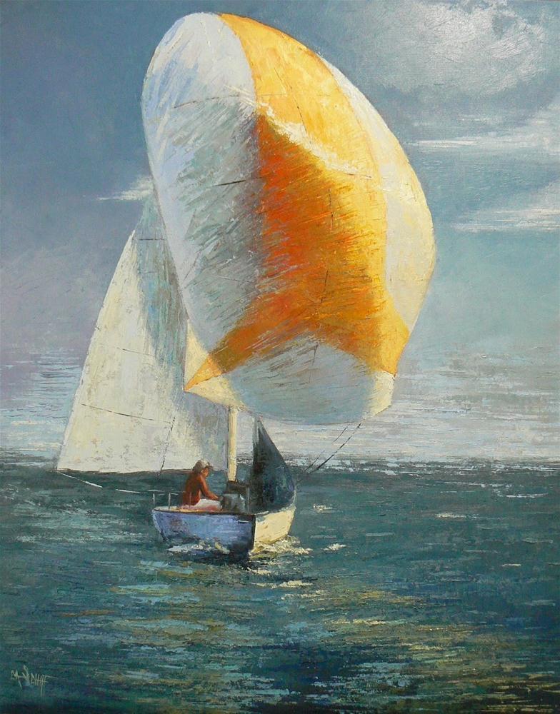 """30x40 Original Oil Painting A Spinnaker Day"" original fine art by Carol Schiff"