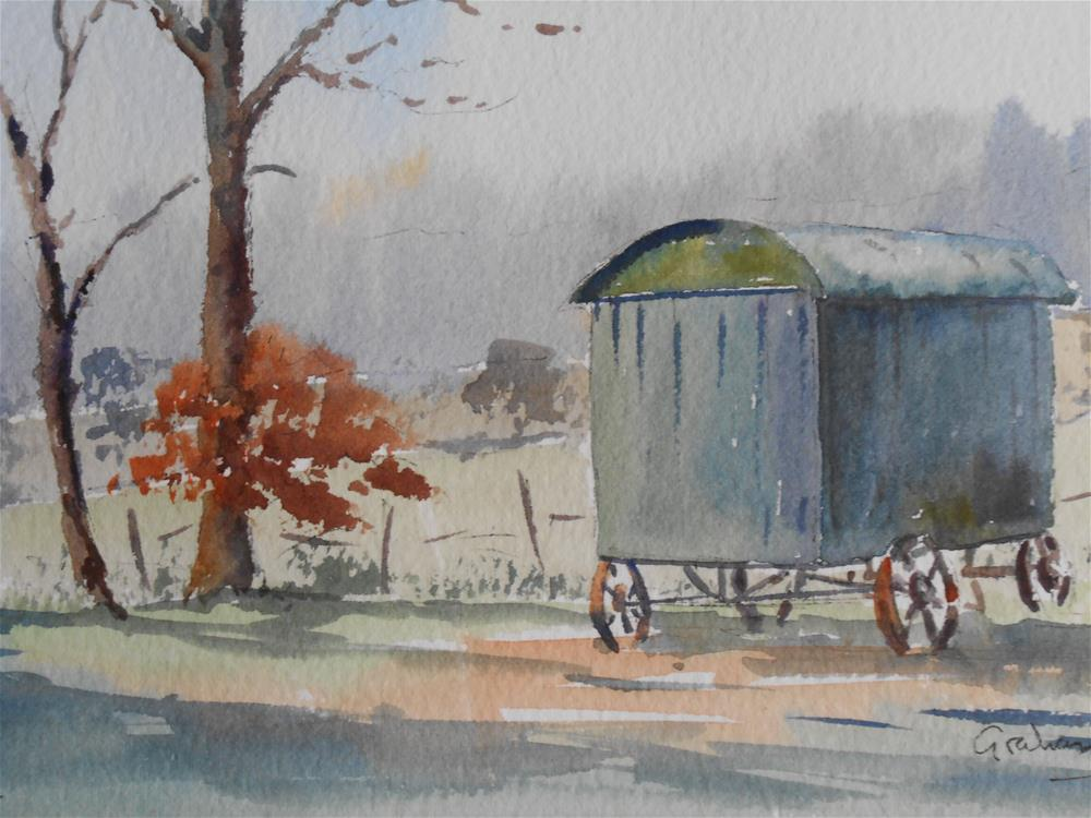 """Shepherd's Hut at Lodge Park"" original fine art by Graham Findlay"