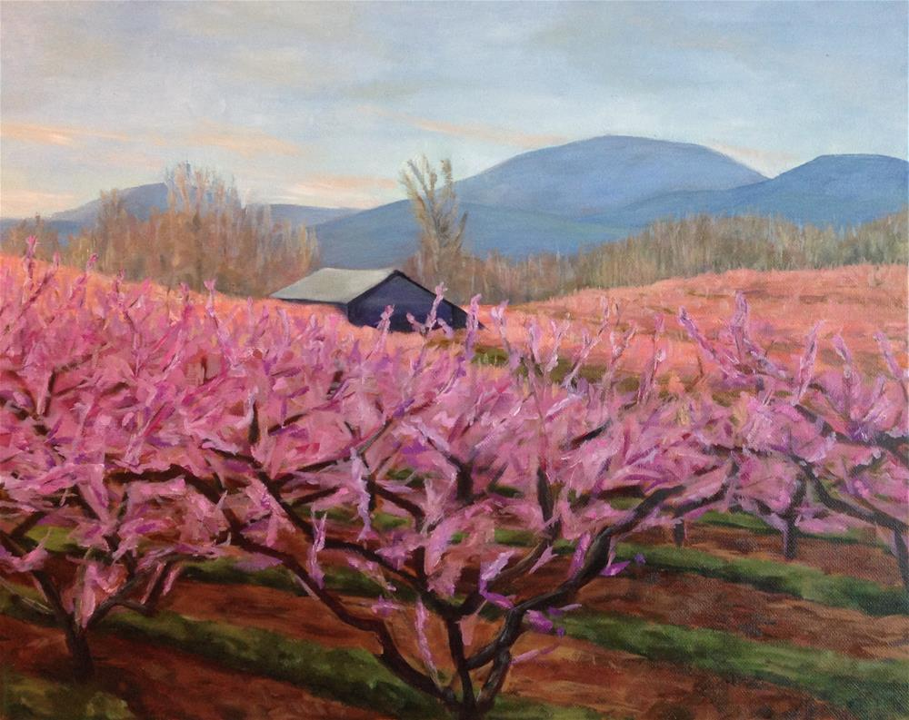 """Crozet Peach Orchard"" original fine art by Karen Collins"