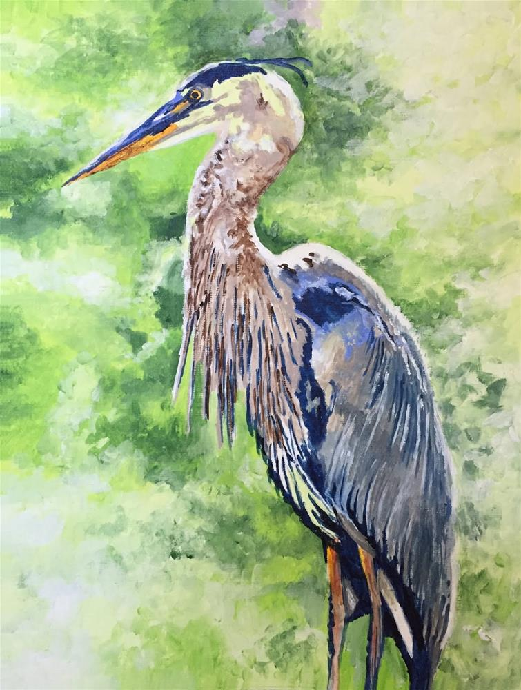 """Heron Closeup"" original fine art by Nan Johnson"