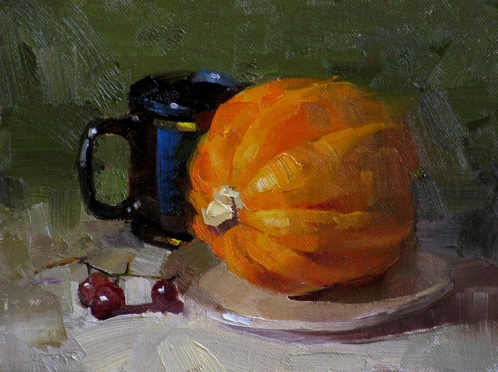 """Pumpkin with Mindfulness"" original fine art by Qiang Huang"