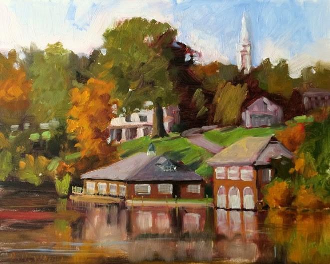 """Smith Boathouse"" original fine art by Deborah Newman"