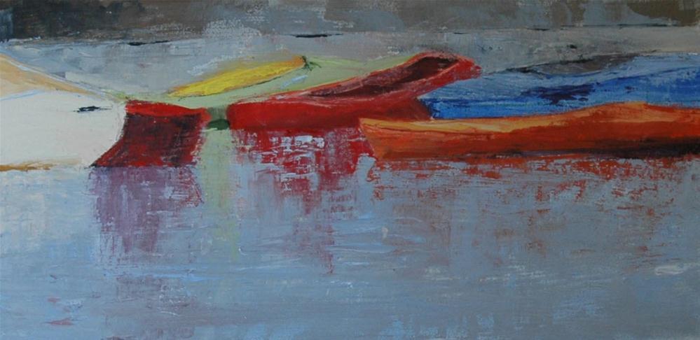 """WAITING KAYAKS"" original fine art by Linda Popple"