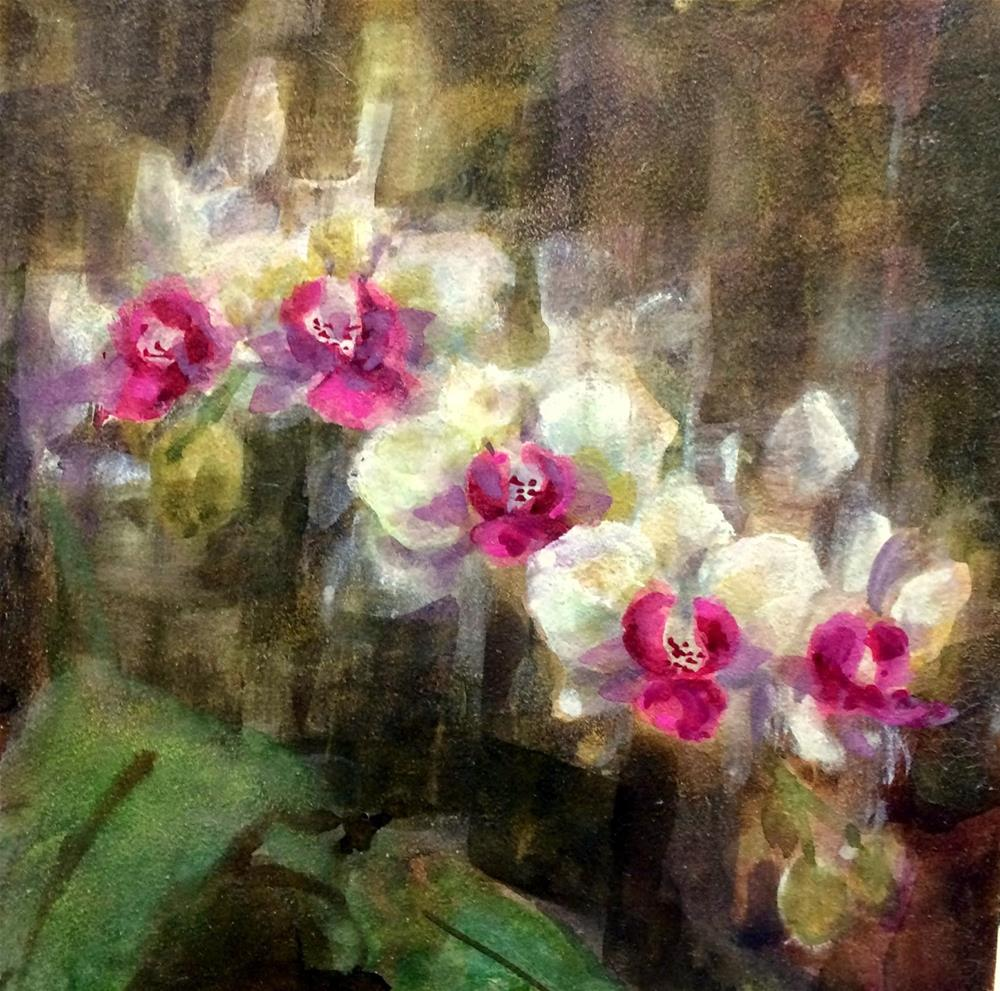 """Orchid Light -  Waxing Watercolor"" original fine art by Julie Ford Oliver"