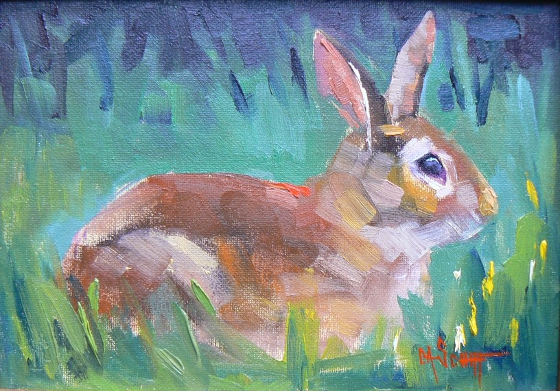 """Daily Painting, Bunny, 6x8, Oil"" original fine art by Carol Schiff"