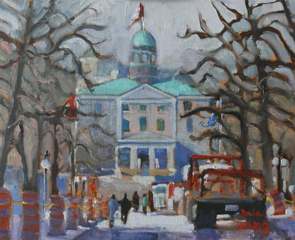 """""""827 Montreal Winter McGill (Putting up the Lights), 8x10 oil"""" original fine art by Darlene Young"""