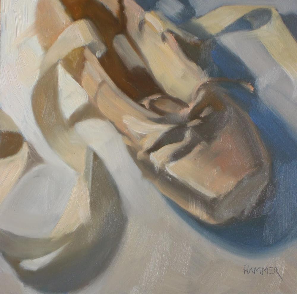 """Ballet shoe,  6x6   oil"" original fine art by Claudia Hammer"