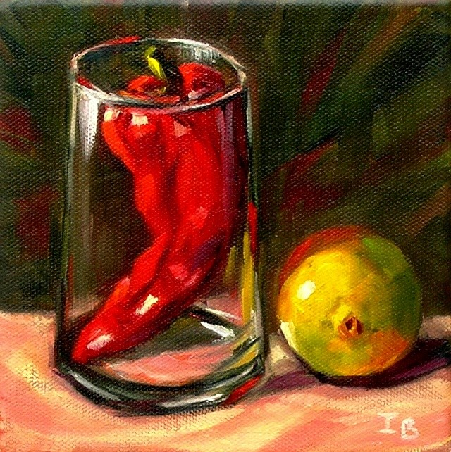 """In the shadow of the red pepper"" original fine art by Irina Beskina"