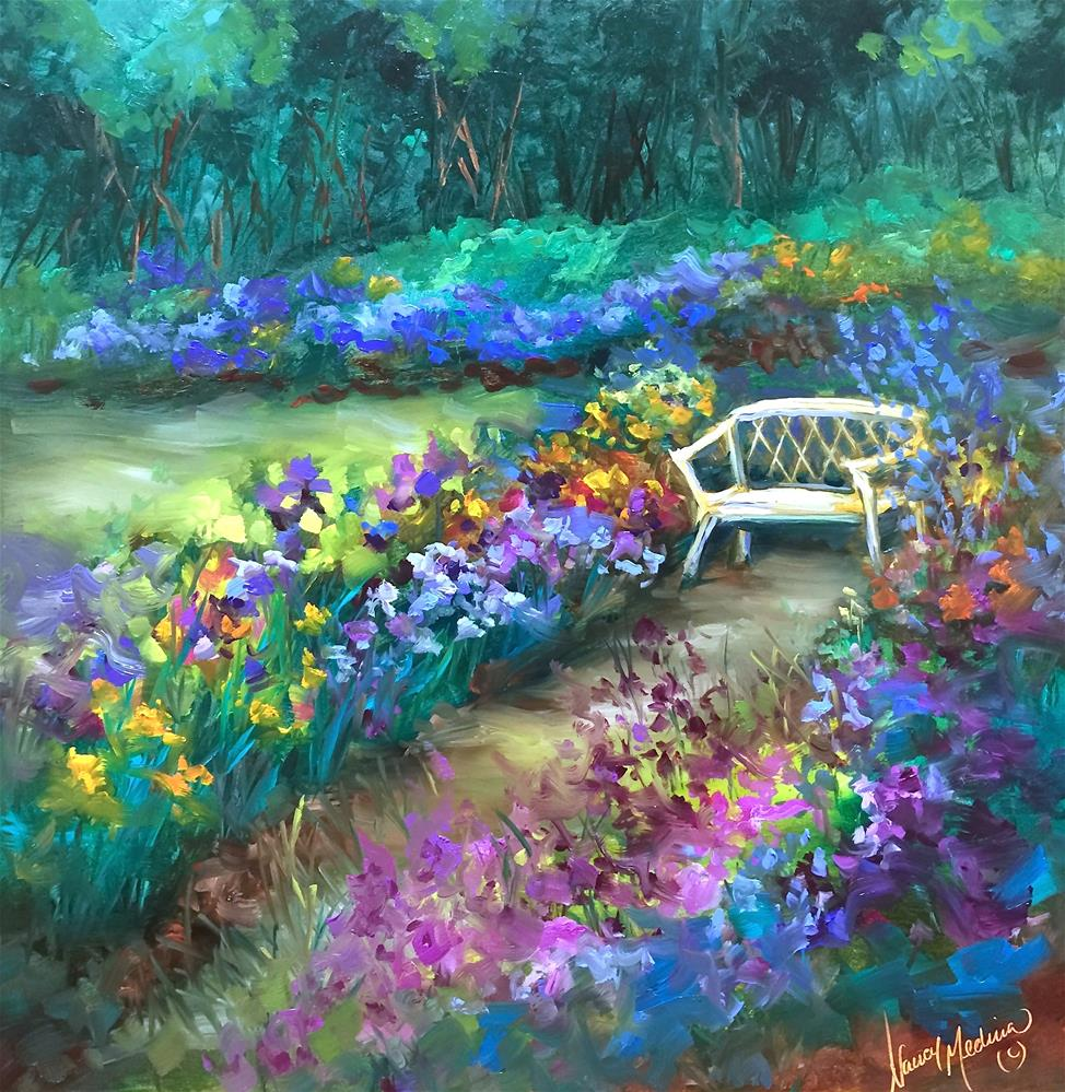 """This Space Reserved ~ Iris Garden"" original fine art by Nancy Medina"