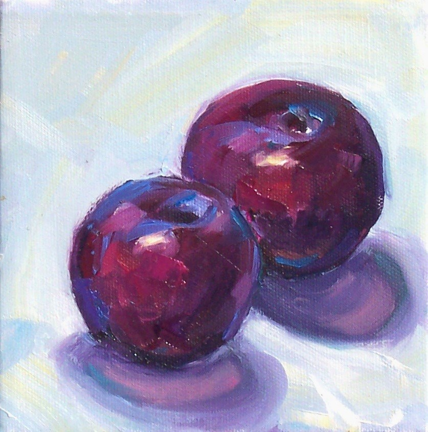 """Plums,still life,oil on canvas,6x6,price$200"" original fine art by Joy Olney"