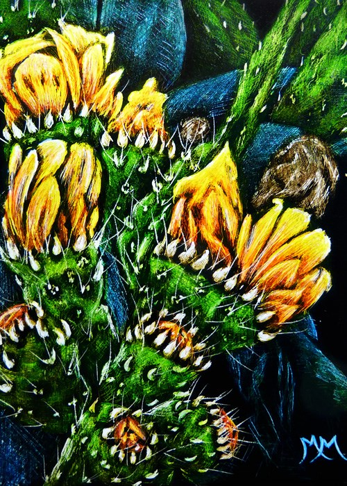 """Prickly Pear - SA97"" original fine art by Monique Morin Matson"