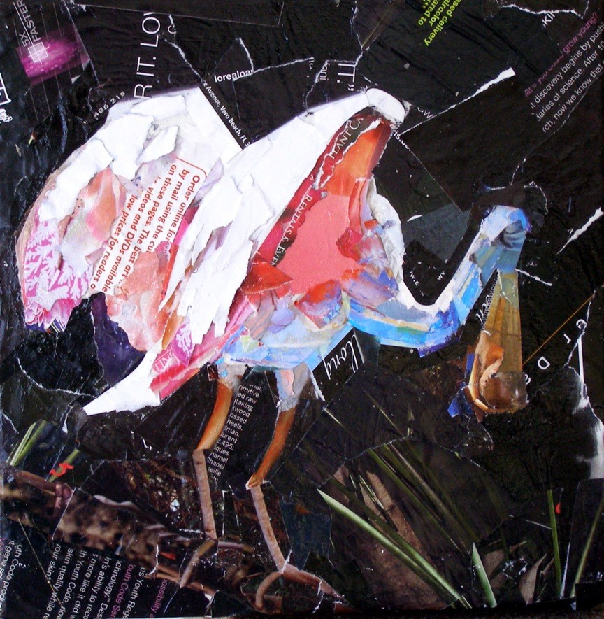 """Spoonbill Collage"" original fine art by Carmen Beecher"