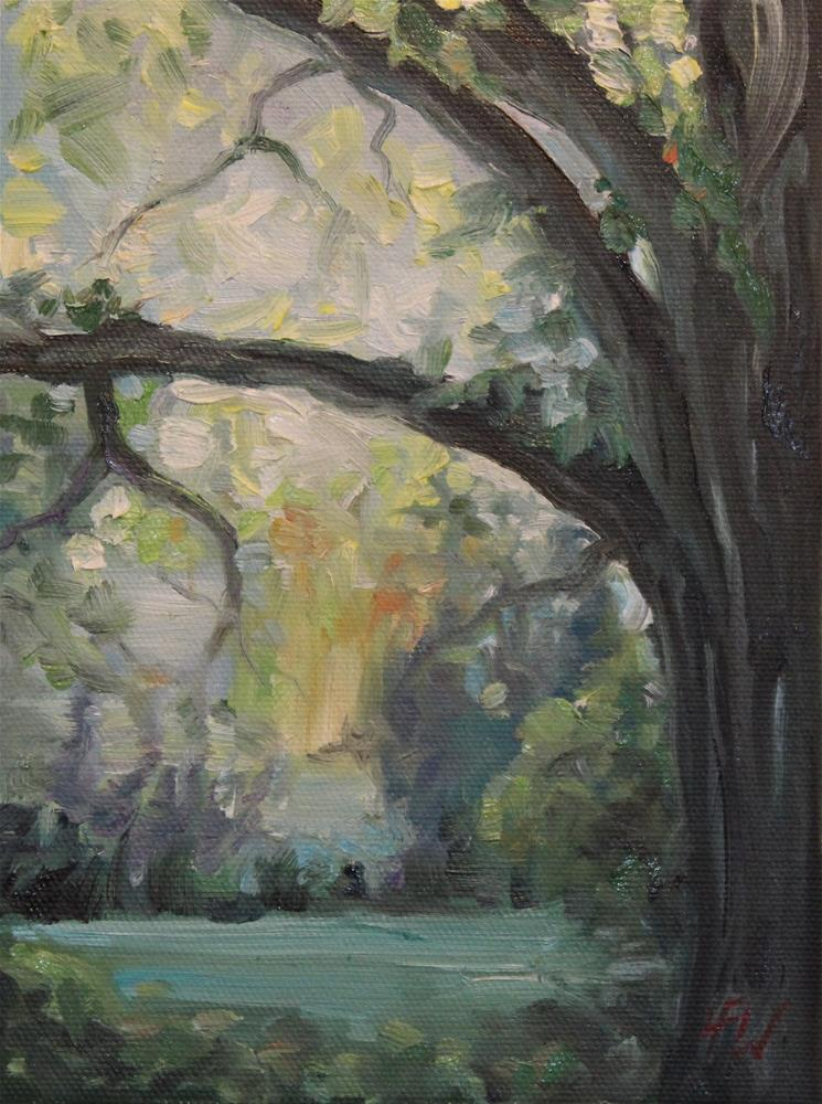 """Morning Light behind the Oak"" original fine art by H.F. Wallen"