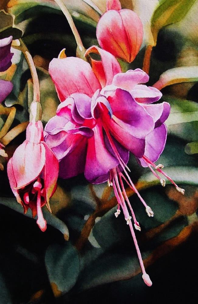 """Fuchsia"" original fine art by Jacqueline Gnott, whs"