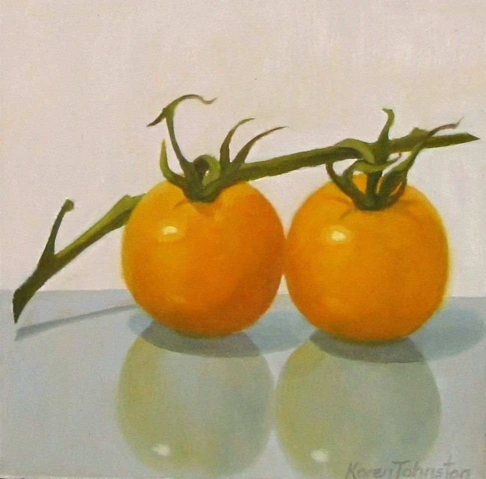 """Yellow Tomatoes"" original fine art by Karen Johnston"