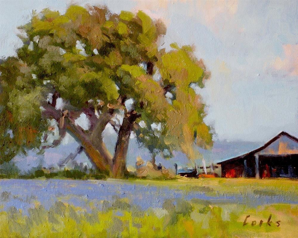 """Big Oak by the Barn"" original fine art by David Forks"