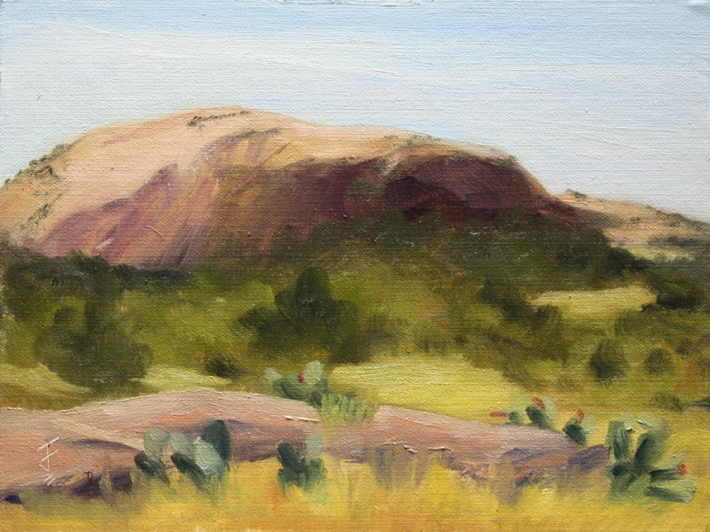 """Enchanted Rock from Dutch Mountain Ranch"" original fine art by Jane Frederick"