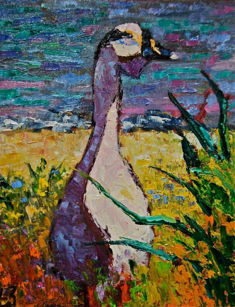 """White Rock Goose"" original fine art by Liz Zornes"