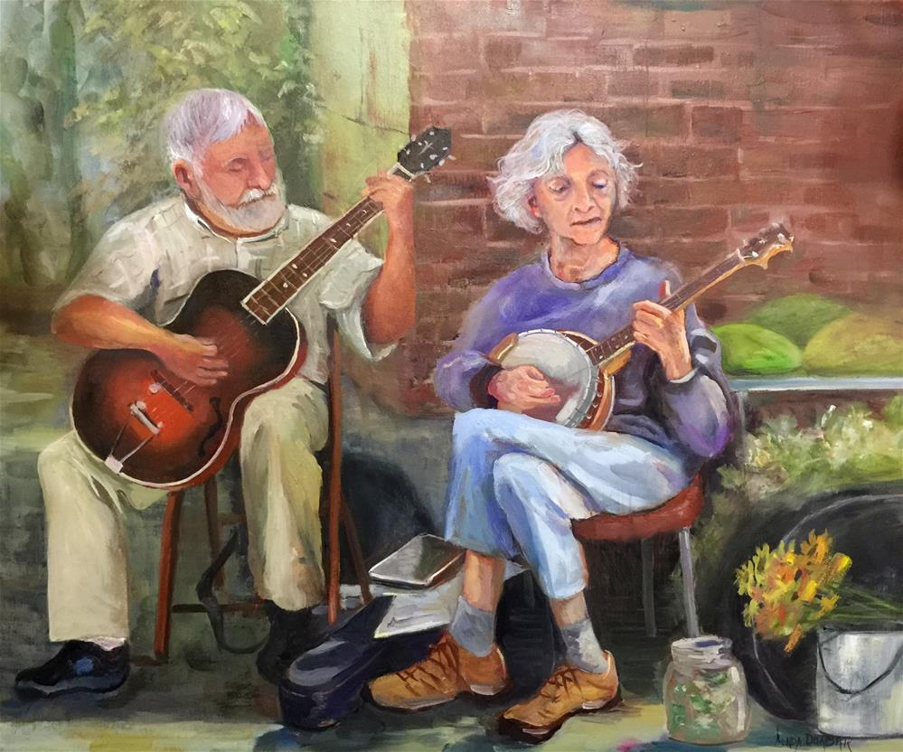"""Cherry Street Pickers"" original fine art by Linda Dunbar"