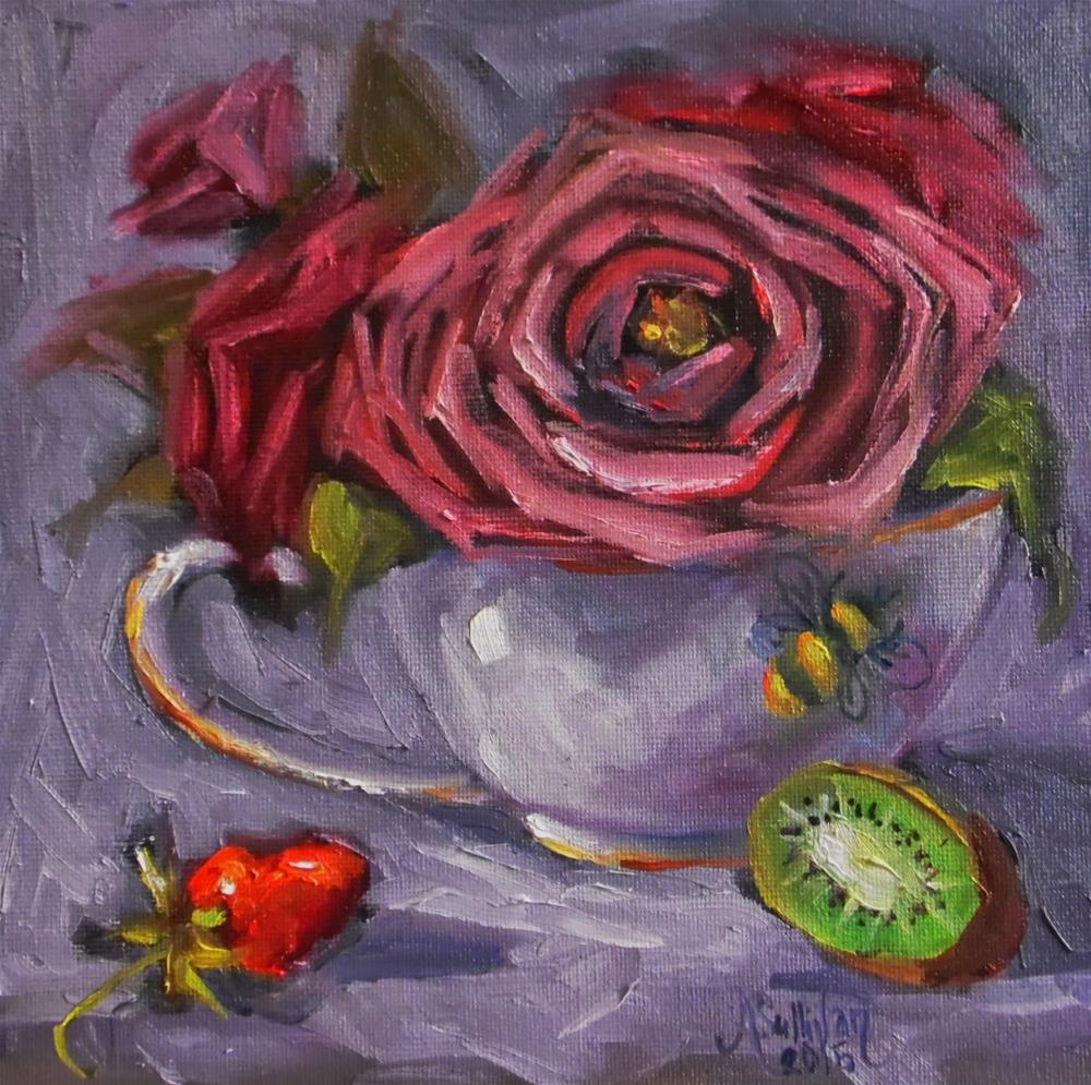 """Kiwi Strawberry still life painting by Alabama Artist Angela Sullivan"" original fine art by Angela Sullivan"