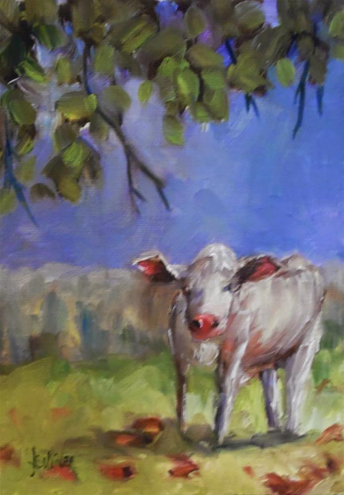 """A Few Red Leaves cow painting by Alabama Artist Angela Sullivan"" original fine art by Angela Sullivan"