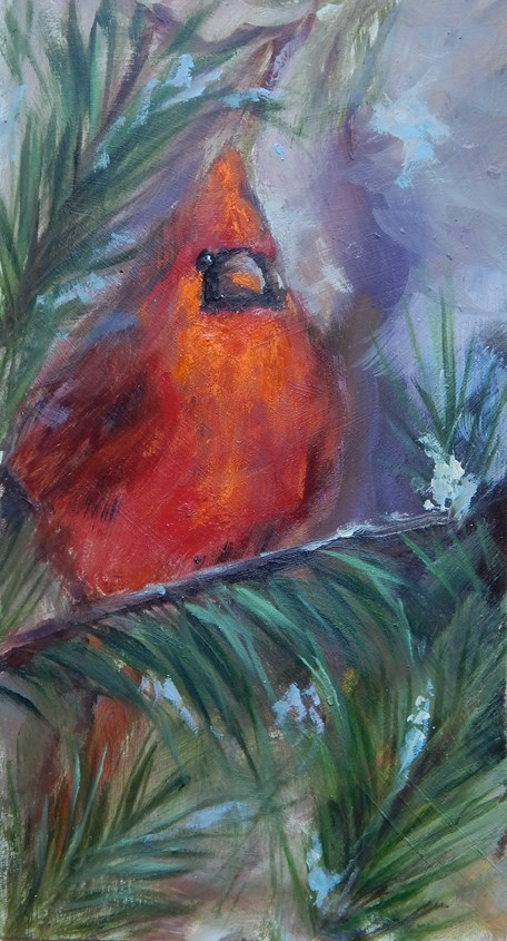 """Cardinal in the Pines"" original fine art by Lina Ferrara"