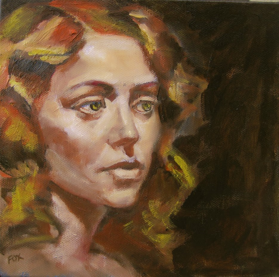 """Female head, long haired woman, figurative original painting, curly hair, woman art, contemporary fi"" original fine art by Marie Fox"