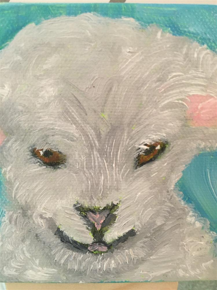 """Shy Baby Lamb"" original fine art by Charlotte Bankhead Hedrick"