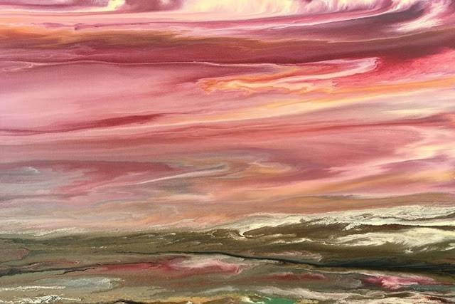 """Contemporary Abstract Landscape, Sunset Art Painting Sunset Reflections V by International Contemp"" original fine art by Kimberly Conrad"