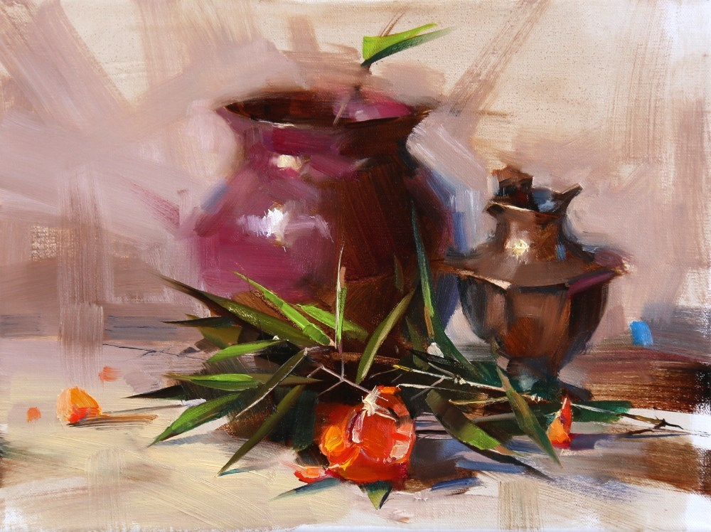 """Bamboo and Tangerine"" original fine art by Qiang Huang"