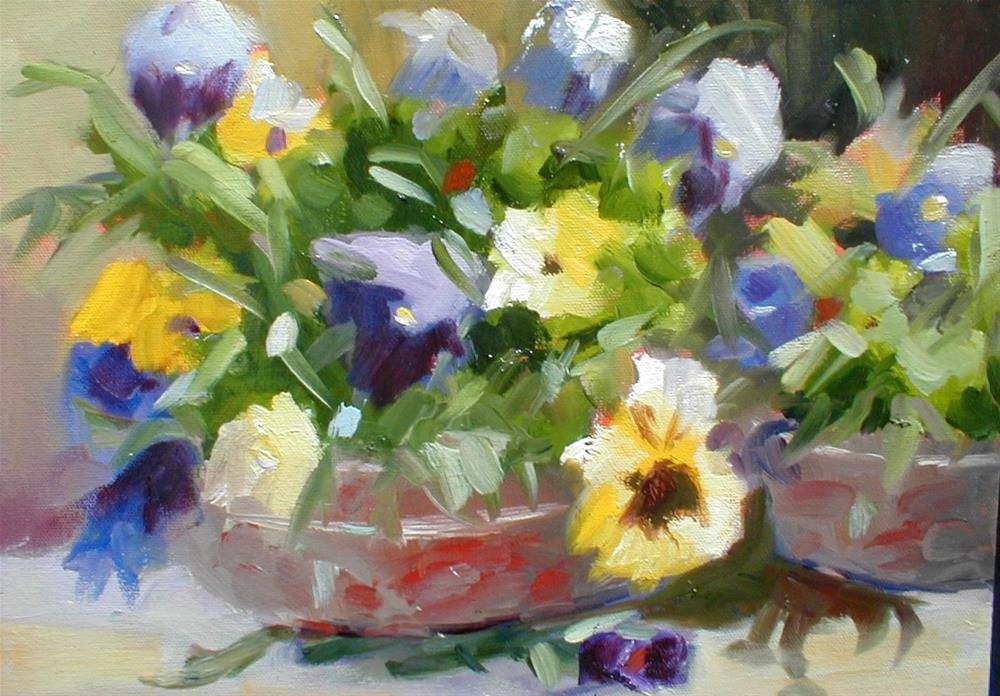 """Patio Pansies"" original fine art by Carol Cochran"