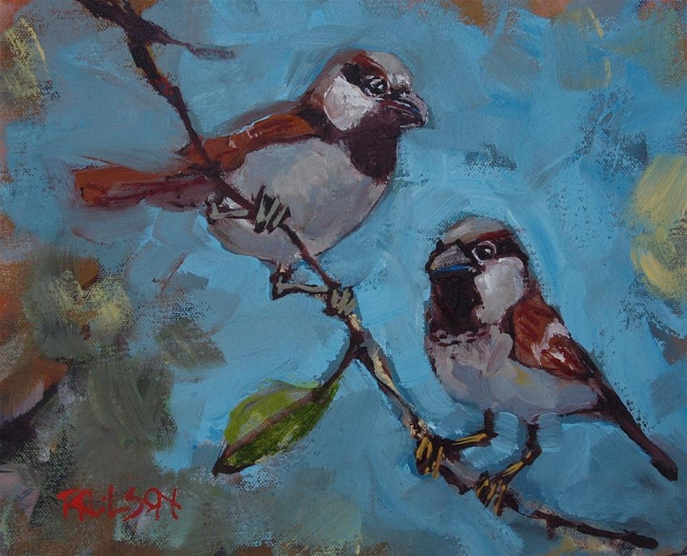 """Sparrows"" original fine art by Rick Nilson"