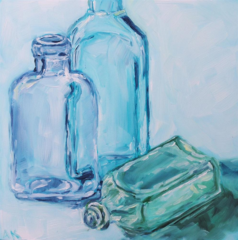 """Vintage Bottles 3"" original fine art by Alison Kolkebeck"