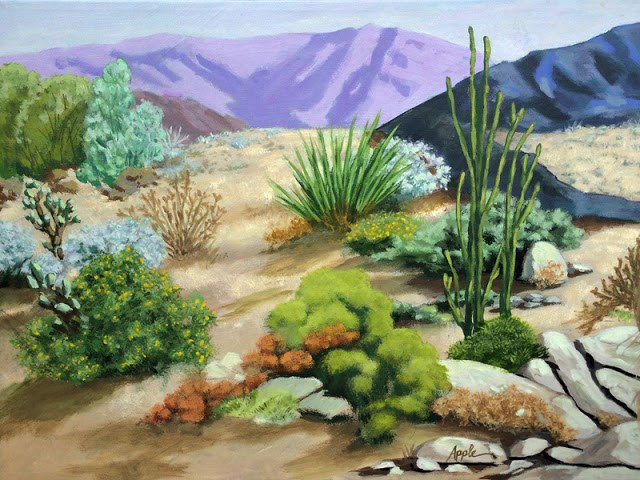 """Desert Landscape of Palm Springs large 16 x 20 original painting"" original fine art by Linda Apple"