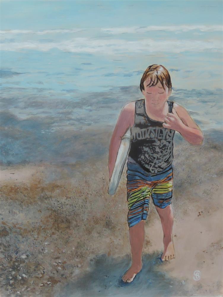 """""""Beach Boy"""" original fine art by Belinda Scheber"""