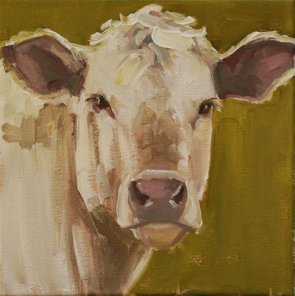 """charolais on chartreuse"" original fine art by Carol Carmichael"